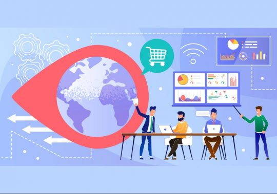 Online Worldwide Trading Business and Data Analysis. Cartoon Businessmen Working on Laptop, Discussing Results, Analyzing Statistics, Planning and Improving Goods Delivery. Flat Vector Illustration